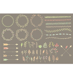 Hand drawn vintage arrows dividers flowers vector image