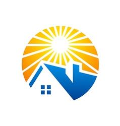 Home bright sun logo vector