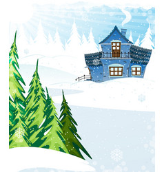 House in a pine forest vector