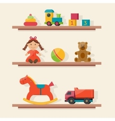 Kids toys in boxes vector image vector image