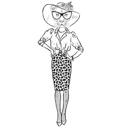 Lioness dressed up chic style vector