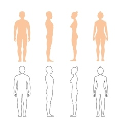 Male and female human silhouettes vector