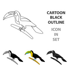 mexican keel-billed toucan icon in cartoon style vector image
