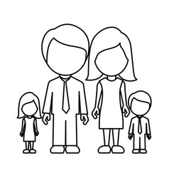 monochrome contour of faceless family group vector image vector image