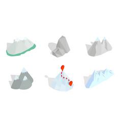 mountain icon set isometric style vector image vector image