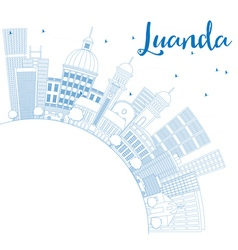 Outline luanda skyline with blue buildings vector