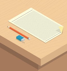 Paper pencil rubber stationary on wooden desk vector
