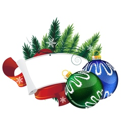 Pine Tree wreath with Christmas balls vector image vector image