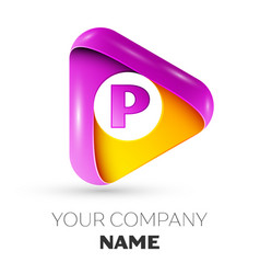 Realistic letter p symbol in colorful triangle vector