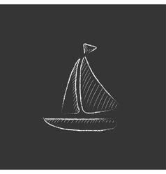 Sailboat Drawn in chalk icon vector image