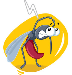 scared mosquito insect cartoon vector image