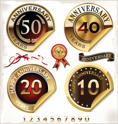 Set of golden anniversary labels vector image vector image