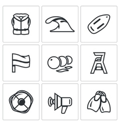 Set of Rescue on Water Icons Life Jacket vector image