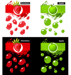 set template icon of fruit strawberry and apple vector image