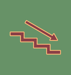 Stair down with arrow cordovan icon and vector