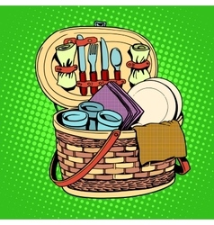 The breakfast picnic basket nature vector