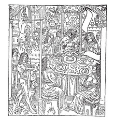 The kings banquet is a print from the engraving vector