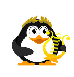 Young penguin with lyre cartoon image of a small vector