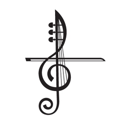 Violin and treble clef vector