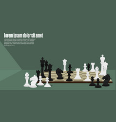 Chess pieces on chess board vector