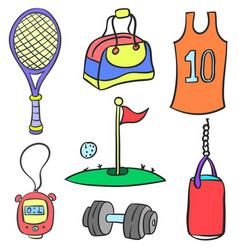 Collection stock object sport doodle style vector
