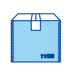 blue silhouette of box of cardboard sealed vector image