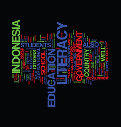 Literacy in indonesia text background word cloud vector