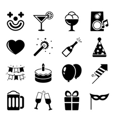 Party icons set contrast flat vector