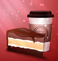 Tasty chocolate cake and cup of coffee vector