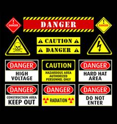 danger warning symbols vector image