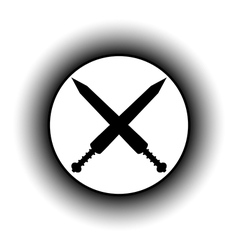 Crossed gladius swords button vector