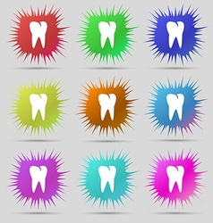 Tooth icon nine original needle buttons vector