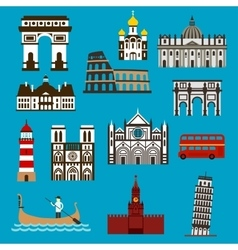 European landmarks and buuildings flat icons vector image