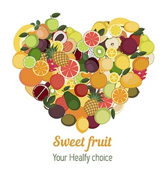 Heart with different fruit icons vector