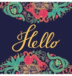 Hello border yellow stroke vector