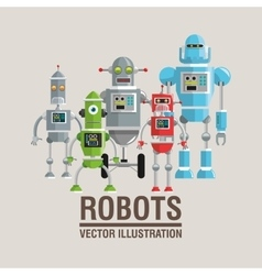 Robot set design technology concept humanoid vector
