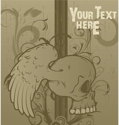 Vintage floral background with skull vector