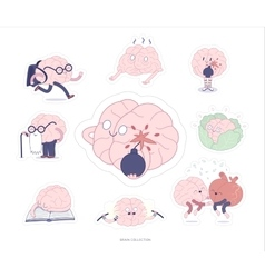 Brain stickers education and stress set vector