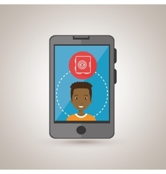 Man smartphone with safe box isolated icon design vector