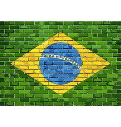Flag of Brazil on a brick wall vector image