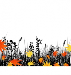 autumn meadow silhouettes vector image vector image