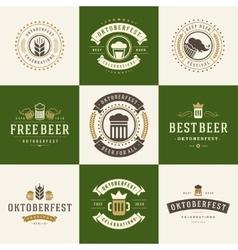 Badges and logos set beer festival oktoberfest vector