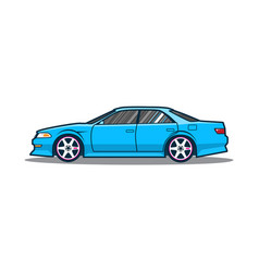 Blue japan car side view vector