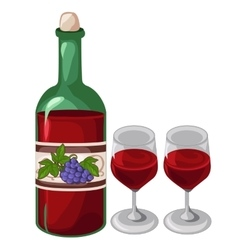 Bottle of red wine and two filled glasses vector