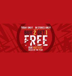 buy 2 get 1 free banner vector image vector image