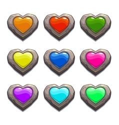 Cartoon stone hearts set vector