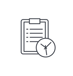 clipboard and clock to-do list thin line icon vector image