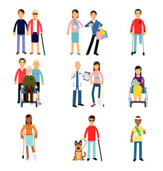 disabled men and women characters getting medical vector image