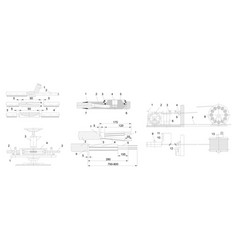 Engineering drawing of industrial equipment vector