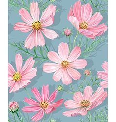 Floral seamless pattern with cosmos flowers vector